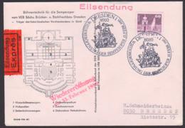 Dresden SoSt. Wiedereröffnung Der Semperoper 13. Februar 1985, Orts-Eilbrief Mit DDR 2501, Zwinger Auf Schmuck-Bf - DDR