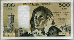 Billet De 500 Francs PASCAL - 500 F 1968-1993 ''Pascal''