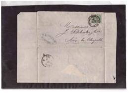 E63  -   VERVIERS  20.8.1878   /   LETTERA SPEDITA A  AIX-LA-CHAPELLE  AFFRANCATA CON IL NR. 27    CAT. MICHEL - 1869-1883 Léopold II