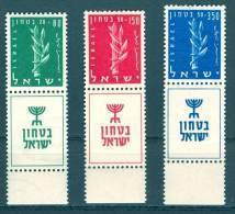 Israel - 1957, Michel/Philex No. : 140-142,  - MNH - *** - Full Tab - Israel