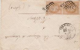 Yvert 28 X 2 Paire Verticale Lettre PERPIGNAN Pyrénées Orientales GC 2818 303/1870 à Mielan Gers Passe Agen - Marcofilia (sobres)