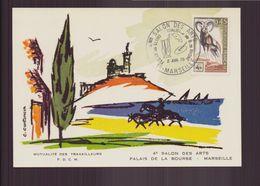 """France, Carte Avec Cachet Commémoratif """" Salon Des Arts """" Du 2 Avril 1970 à Marseille - Cachets Commémoratifs"""