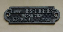 Epineuil-le-Fleuriel, Plaque Gabriel Desfougères, Mécanicien - Advertising (Porcelain) Signs
