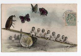 HANNETONS * HANNETON * HUMANISE * BEBES * BALANCOIRE * PAPILLONS * Carte Colorisée * B.K.W.I. 4517/1 - Insectos