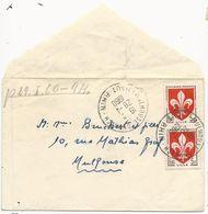 ENVELOPPE CARTE DE VISITE 1960 AVEC 2 TIMBRES BLASON DE LILLE - Marcophilie (Lettres)