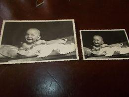 B768  2 Foto Bambini Cm13,5x8,5 E 9x6 Leggera Piega - Fotografia