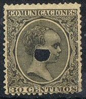 Sello  30 Cts Alfonso XIII Pelon, Varideda Color TELEGRAFOS, Perforado Telegrafico , Num 222aT º - Telegramas