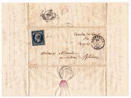 Lettre 1855 Bourdeaux Drôme Château De Ribières Rognes Bouches Du Rhônes Meynier - 1853-1860 Napoléon III