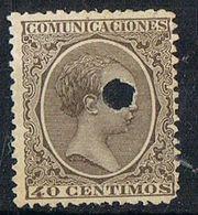 Sello  40 Cts Alfonso XIII Pelon, TELEGRAFOS, Perforado Telegrafico , Num 223T º - Telegramas