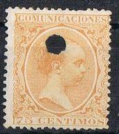 Sello  75 Cts Alfonso XIII Pelon, TELEGRAFOS, Perforado Telegrafico , Num 225T º - Telegramas