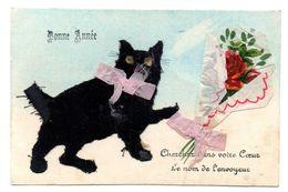 Chat Noir En Relief Et Ajoutis  Queue Coupee - Chats