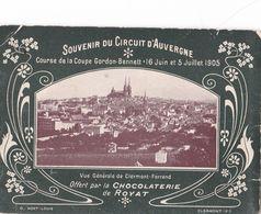SOUVENIR DU CIRCUIT D'  AUVERGNE , DEPLIANT DE 6 PAGES DOUBLES,,,,COURSE DE LA COUPE GORDON -BENNET,,1905 - Carreras De Carros