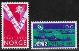 Norway, Scott # 555-6 Mint Hinged Liberation Anniv., 1970 - Unused Stamps