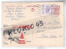 Belgique - Entier Postal Publicitaire CAFE AMEZ Thieusies - Timbre Préimprimé 2F - CPA Généalogie Cachet 1975 - Illustrat. Cards