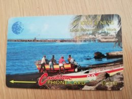 ST KITTS & NEVIS   GPT CARD $10,-   6CSKa     NO STK-6a   LOCAL FISHERMAN AT WORK     Fine Used Card  **2339** - Saint Kitts & Nevis