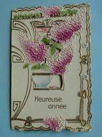 """Carte FANTAISIE Double """" Heureuse Année """" - Bouquet De Lilas - Style Arts Déco - Fantaisies"""