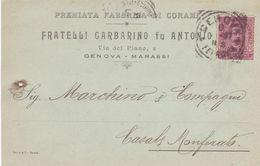 ITALIA - REGNO - GENOVA - FRATELLI GARBARINO FU ANTONIO - FABBRICA DI CORAMI  -VIAGGIATA  PER CASALE MONFERRATO (AL) - Storia Postale