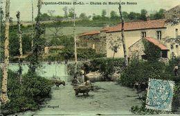 Argenton Chateau * 1906 * Chutes Du Moulin De Renou * Minoterie * Cpa Toilée Colorisée - Argenton Chateau