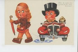 Illustrateur ENFANTS - LECLERC - Jolie Carte Fantaisie Enfants Automobile Et Chiens - Leclerc