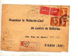 Lettre  Recommandée Paris 38 Sur Semeuse - Marcophilie (Lettres)