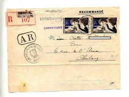 Devant De Lettre  Recommandée Cherbourg Sur Gant - Marcophilie (Lettres)