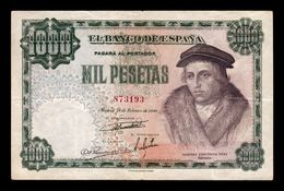 España Spain 1000 Pesetas Luis Vives 1946 Pick 133 MBC VF - [ 3] 1936-1975 : Régimen De Franco