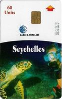 Seychelles - C&W Seytels (Chip) - Sea Turtle, Chip Siemens S35, Reverse 'CPI 2001831', Glossy Finish, 60U, 2001, Used - Seychelles