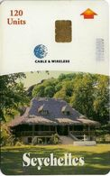 Seychelles - C&W Seytels (Chip) - Grand Kaz, Chip Siemens S35, Reverse NO CODE, Glossy Finish, 120U, 2001, Used - Seychelles