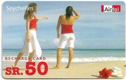 Seychelles - Airtel (Prepaid) - Two Women At Beach, GSM Refill 50SR, Used - Seychelles
