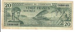 NEW CALEDONIA 20 Francs P#49  1940 Noumea Banque De L'indochine LOTTO 2916 - Nouméa (Nuova Caledonia 1873-1985)