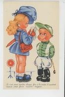 Illustrateur ENFANTS - LECLERC - Jolie Carte Fantaisie Enfants Fillette Et Jockey - Leclerc