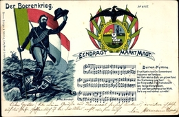Chanson Lithographie Der Boerenkrieg, Burenkrieg, Boer War, Eendragt Maakt Magt, Buren Hymne - Non Classés