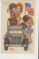 """Illustrateur ENFANTS - LECLERC - Jolie Carte Fantaisie Fillettes Avec Soldats Américains Dans Jeep """"Libération """" - Leclerc"""