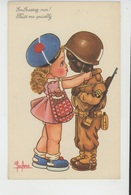 """Illustrateur ENFANTS - LECLERC - Jolie Carte Fantaisie Fillette Avec Soldat Américain Noir """"Embrassez-moi ! """" - Leclerc"""