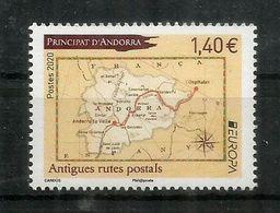 EUROPA 2020. Anciennes Routes Postales Vers Andorre, Carte D'Andorre. , Timbre Neuf ** 2020 - Französisch Andorra
