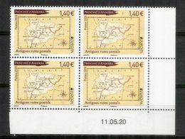 EUROPA 2020. Anciennes Routes Postales Vers Andorre, Carte D'Andorre. Bloc De 4 Neufs ** Coin Daté. - Ungebraucht