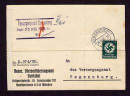 DR Karte Dienst - Mi. D135 LANDSHUT (BAY) - Regensburg - 24.8.36 In EF - Dienstpost