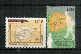 EUROPA 2020. Anciennes Routes Postales Vers Andorre, Carte D'Andorre. 2 Timbres Neufs ** EUROPA AND.FR/AND.ESP. - Andorre Français