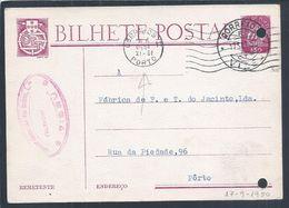 Rara Flâmula De Ondas Do Porto Com Data Do Datador Invertida 1950. Viseu. Postal Stationery Caravela. - Variétés Et Curiosités