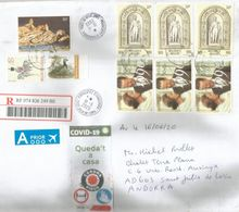 COVID19/ Lettre Recommandée De Belgique Envoyée ANDORRA, Pendant LOCKDOWN,avec Vignettes STAY HOME/QUEDA'T A CASA - Abarten Und Kuriositäten