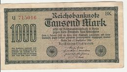 Reichsbanknote 1000 Mark Tausend 1922 Deutschland Berlin - [ 3] 1918-1933 : Repubblica  Di Weimar