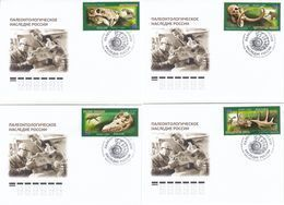 2872-2875 Mih 2655-2658 Russia 06 2020 NO EXTRA FEES FDC 01 Prehistoric Fauna Dinosaurs Mammoths Paleontological - 1992-.... Federation
