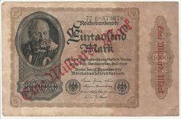 Reichsbanknote 1000000 Mark Eine Milliarde 1922 Deutschland - [ 3] 1918-1933 : Repubblica  Di Weimar