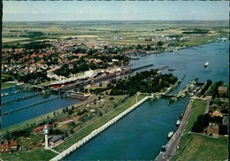 Ansichtskarte Brunsbüttel Brunsbüttelkoog Luftbild Schleuse 1965 - Germany
