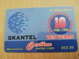 ST KITTS & NEVIS   GPT CARD $20,-   15CSKA    NO STK-15A  SKANTEL 10 YEARS        Fine Used Card  **2355** - Saint Kitts & Nevis