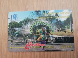 ST KITTS & NEVIS  GPT CARD $10,-  16CSKA  NO STK-16A  CARNIVAL AT CHRISTMAS  (ONLY 400 EX       Fine Used Card  **2357** - Saint Kitts & Nevis