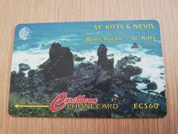 ST KITTS & NEVIS  GPT CARD $60,-  18CSKA  NO STK-18A  BLACK ROCKS       Fine Used Card  **2359** - Saint Kitts & Nevis