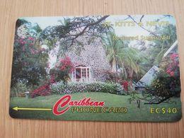 ST KITTS & NEVIS  GPT CARD $40,-  77CSKB  NO STK-77B  RESTORED SUGAR MILL      Fine Used Card  **2360** - St. Kitts & Nevis