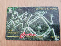 ST KITTS & NEVIS  GPT CARD $10,-  166CSKA  NO STK-166A  CARIB PETROGLYPHS   Fine Used Card  **2366** - Saint Kitts & Nevis