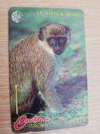 ST KITTS & NEVIS  GPT CARD $20,-  176CSKA  NO STK-176A   THE VERVET MONKEY  Fine Used Card  **2367** - St. Kitts & Nevis